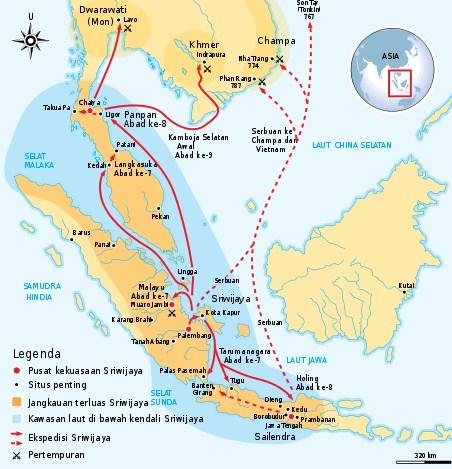 peta kerajaan sriwijawa
