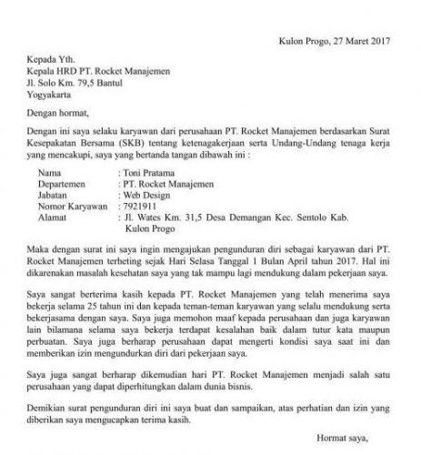 Contoh Surat Pengunduran Diri Indomaret Lengkap