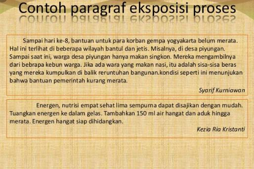 Contoh Paragraf Eksposisi